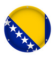 metallic flag - bosnia and herzegovina with screws vector image