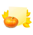 note with autumn leaves and pumpkin vector image vector image