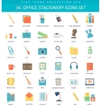 Office stacionery color flat icon set vector image