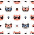 pattern with cats with glasses on white background vector image vector image