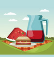 picnic in the park cartoons vector image vector image
