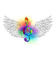 rainbow musical key with wings vector image vector image