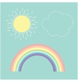 Rainbow sun cloud Dash line Love card Flat design vector image vector image
