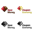 Save money with coupons vector image vector image