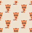 seamless pattern of cartoon cat on light vector image