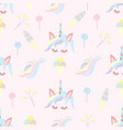 seamless pattern of unicorn and sweets vector image vector image
