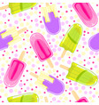 seamless sweet pattern with popsicles in cartoon vector image vector image