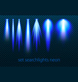 set of neon searchlights on a transparent vector image vector image