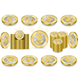 Set of One Bitcoins Isolated on White vector image