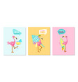 set summer vibes banners with cute pink vector image
