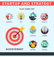 startup and strategy web busines icon set for vector image vector image