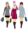 three young fashion women with shopping bags vector image vector image