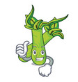 thumbs up wasabi character cartoon style vector image vector image