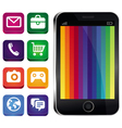 touchscreen phone with rainbow wallpaper vector image vector image
