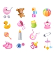 Toys and accessories for baby girl vector image vector image