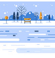 winter park scene small bench at river bank vector image