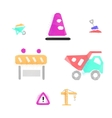 Construction works polygonal icons vector image