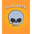 Halloween pop art Skull on an orange background of vector image