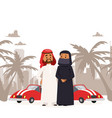 arab man and woman wearing traditional clothing vector image