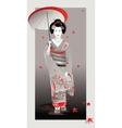 Autumn geisha in gray vector image vector image