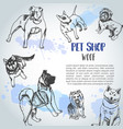 background with hand drawn dogs breeds sketch of vector image