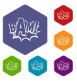 bam comic book bubble icons set hexagon vector image vector image