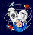 beagle dogs and funny man on earth vector image vector image