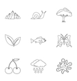 Beautiful nature icons set outline style vector image vector image