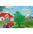 beautiful summer landscape - countryside village vector image vector image