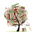 Books library on tree branches for your design vector image