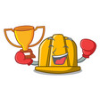 boxing winner construction helmet mascot cartoon vector image