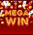 casino mega win signboard game banner design vector image