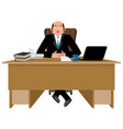 cheerful boss at work happy businessman at desk vector image vector image