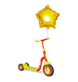 colored roller scooter for children and balloon vector image