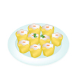 Delicious Dim Sum in A White Plate vector image vector image