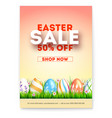 easter sale ad poster with special holiday offer vector image vector image