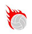 fire volleyball flame ball emblem game sport team vector image