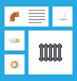 flat icon sanitary set of heater industry roll vector image vector image