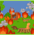 forest wildfire with rodents vector image