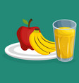fresh fruits salad with juice healthy food vector image