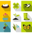 Garden maintenance icons set flat style vector image vector image