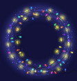 garland frame with colorful lights vector image vector image