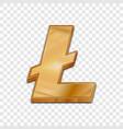 golden litecoin trendy 3d style icon vector image