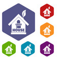 green house icons hexahedron vector image vector image