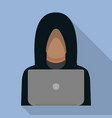hacker man on laptop icon flat style vector image