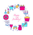 happy birthday round concept banner in colored vector image vector image