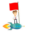 happy businessman holding flag and standing on vector image vector image