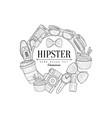 hipster items vintage sketch vector image