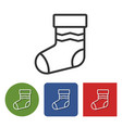 line icon of christmas stocking vector image vector image