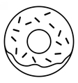Linear Glazed ring doughnut with sprinkles vector image vector image